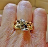 Szép nagy sárga fehér és vörös arany gyűrű gyémánttal