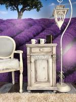 Provence bútor, antikolt fehér éjjeli szekrény.
