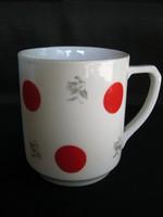Drasche porcelán piros pöttyös bögre