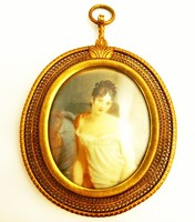 Női Portré, elefántcsont lemezen Jugendstil keretben