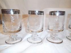 Üveg - EXKLUZÍV 7 db pohár 2 dl - vastag - EZÜSTÖZÖTT - GRAVÍROZOTT - hibátlan
