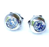 Arany 14 K Buton Brill Gyémánt  0,40 ct Fülbevaló Fehérarany Modern