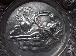 Magyar art deco, jelzett Tafel Jenő ezüst tál nimfa és páva díszitéssel