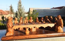 Az utolsó vacsora - fafaragás - nagyméretű fa szoborcsoport