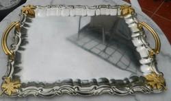 Vintage fémtálca aranyozott fogóval és levéldísszel