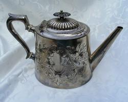 Rendkívül szép, trébelt mintás, jelzett, ezüstözött, antik, teás vagy kávés kanna, porcelánbetétes