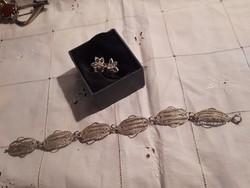 Filigrán ezüst szett , karkötő és fülbevaló