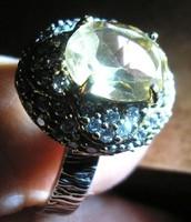 925 ezüst gyűrű 18,8/59,03 mm citrin, CZ., török stilus