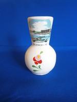 Bodrogkeresztúri kalocsai mintás kerámia váza Velencei-tó látképpel