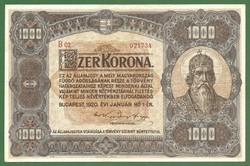 EXTRA SZÉP, NAGYALAKÚ 1000 KORONA 1920 ! XF