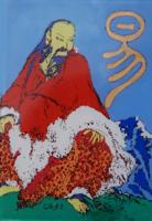 Fu-hszi kínai császár és a Ji csing - üvegfestmény