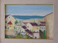 A. Stabile olasz művész festménye: Tengerparti házak