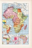 Afrika térkép 1923, francia, 19 x 29 cm, lexikon, nyomat, eredeti, népek, elefánt, zsiráf, állat