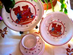 Gyermek retro macis gyerek tányér és pohár szett