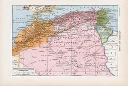 Észak - Afrika térkép 1923, francia, 19 x 29 cm, lexikon, nyomat, eredeti, hátoldalán nyomat, arab