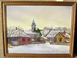 Bánovszky Miklós: Szentendrei tél c. festménye garanciával!  (60 cm x 80 cm; olaj-vászon)