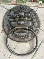 Hatalmas, régi kínai öntöttvas Fo oroszlános vas kopogtató