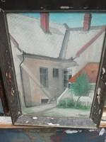 Antik  csendélet olaj vászon festmény jelzett utca jelenet