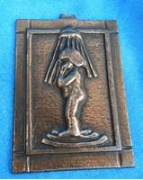 Bronzírozott fürdőszobát jelző kép: zuhanyzó lány - toalett jelző kép