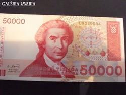 Horvát 50000 dinár UNC