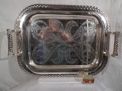 Tálca - ezüstözött tálca - NSZK - erős- masszív - 51 x 36 x 7 cm
