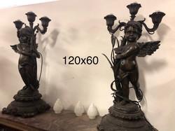 Bronz angyalpár kandelláber  (nagy méretű)