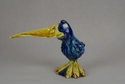 0W474 Morvay Zsuzsa művészi kerámia madár 12 cm