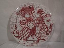 Porcelán - JELZETT  - szignózott - dán kézzel festett falidisz - 15 cm - hibátlan