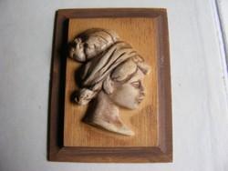 Retro lengyel Cepelia kézműves iparművész  termék domború  fali kép - Női fej