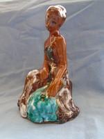 Gyönyörű  mázas kerámia figura szép színekben pompázik  22 magas