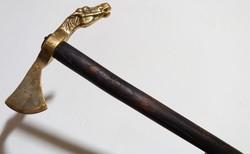 Új Lovas bronz fokos sétabot réz koptatóval túra bot