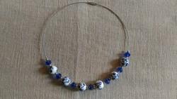 Virágmintás porcelán gyöngy nyaklánc