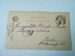 1882-es 2 KR Levelezőlap Brassóból feladva