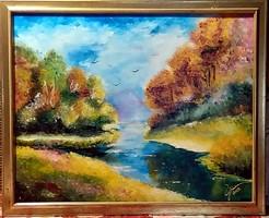 Szikrázó természet - festőkéses impresszió ( 40 x 50, olaj )
