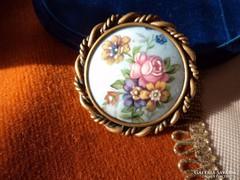 Francia Limoges porcelán bross