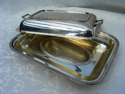 Fantasztikus, jelzett, ezüstözött alpakka, üvegbetétes kettő az egyben fedeles kínáló tál