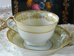 """Noritake """"Elvira"""" Japán luxus porcelán tál és csésze 1933-ból, reggeliző szett, krémszínű"""