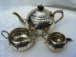 Különleges, ezüstözött, antik, 3 db-os, teás, kávés készlet, szép cizellált felülettel