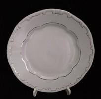 """Zsolnay """"Stafir"""" fehér arany tollazott lapos tányér"""
