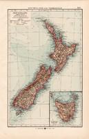 Új - Zéland és Tasmánia térkép 1904, eredeti, Moritz Perles, német, atlasz, régi, Óceánia