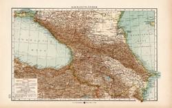 Kaukázusi országok térkép 1904, eredeti, Moritz Perles, német, atlasz, régi, Ázsia, Kaukázus