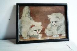 Antik festmény cicás 2 cica cicák dekoráció gyerekszobába