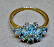Nagyon ritka szép tengerkék apatit és brill margaréta arany gyűrű