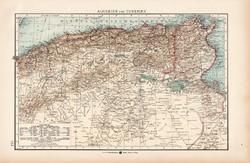 Algéria és Tunézia térkép 1904, eredeti, Moritz Perles, német, atlasz, régi, Afrika