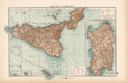 Szicilía és Szardínia térkép 1904, eredeti, Moritz Perles, német, atlasz, régi, Európa, sziget