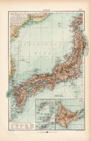 Japán térkép 1904, eredeti, Moritz Perles, német, atlasz, régi, Ázsia, sziget