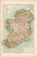 Írország térkép 1904, eredeti, atlasz,  német, Moritz Perles, Európa, Brittania, észak