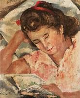 Tihanyi János Lajos Olvasó Kislány Art Deco Lány Nő 50x60 Olaj Vászon Olajfestmény