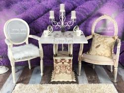Provence bútor, fehér antikolt szecessziós asztal.