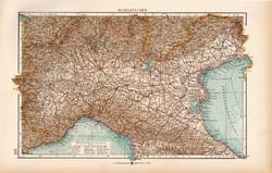 Észak - Olaszország térkép 1904, eredeti, Moritz Perles, német, atlasz, régi, Európa, Itália
